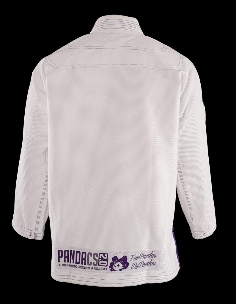 Back view of the Inveted Gear Panda CS 2.0 Gi white and purple weave.   Enjoy Free Shipping from www.thejiujitsushop.com today!