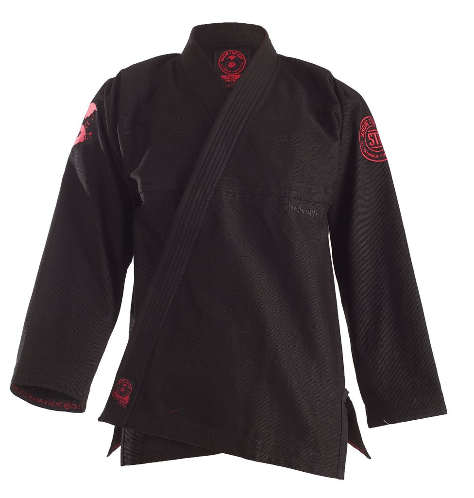 Inverted Gear Dark Matter Gi X show the art collaboration Black and red gi.  Enjoy free shipping from www.thejiujitsushop.com