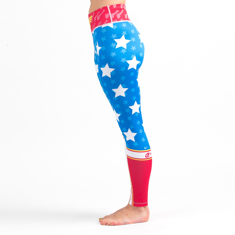 Left side view of the Fusion FG Wonder Woman Spats (Leggings) Available at www.thejiujitsushop.com  Enjoy Free Shipping on all products at The Jiu Jitsu Shop.
