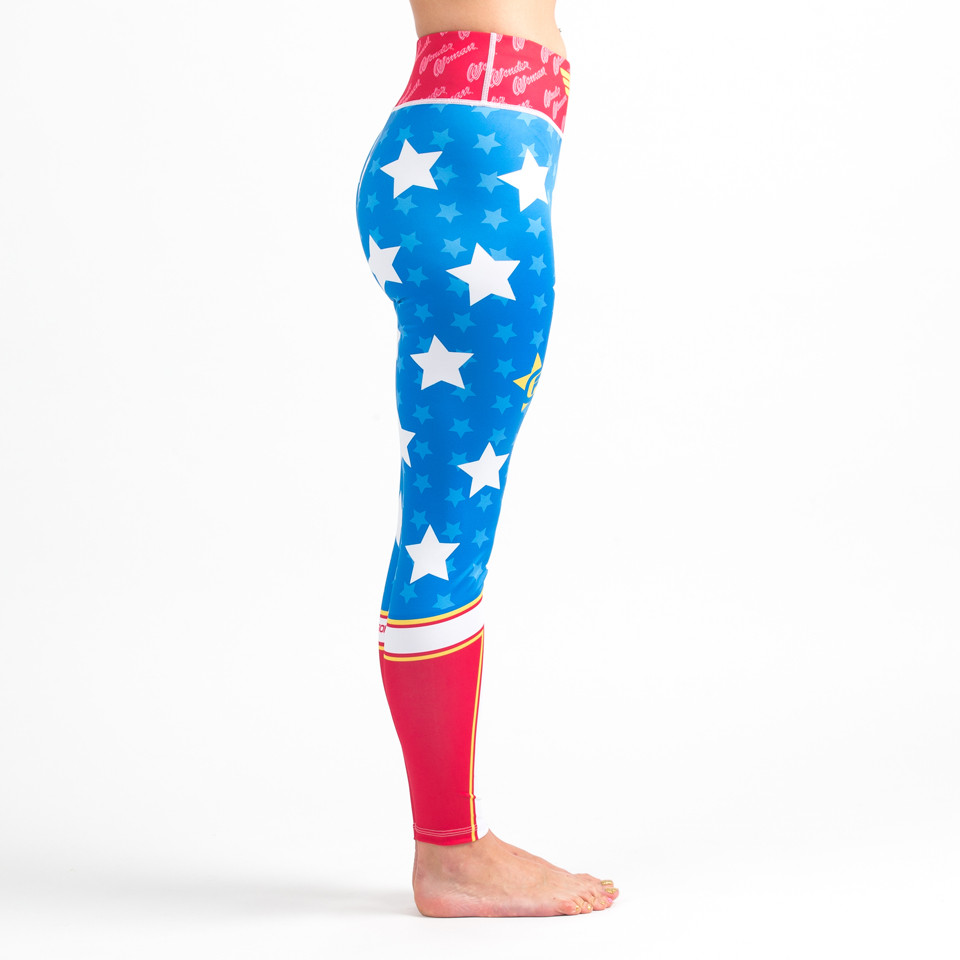Right Side View of the Fusion FG Wonder Woman Spats (Leggings) Available at www.thejiujitsushop.com  Enjoy Free Shipping on all products at The Jiu Jitsu Shop.