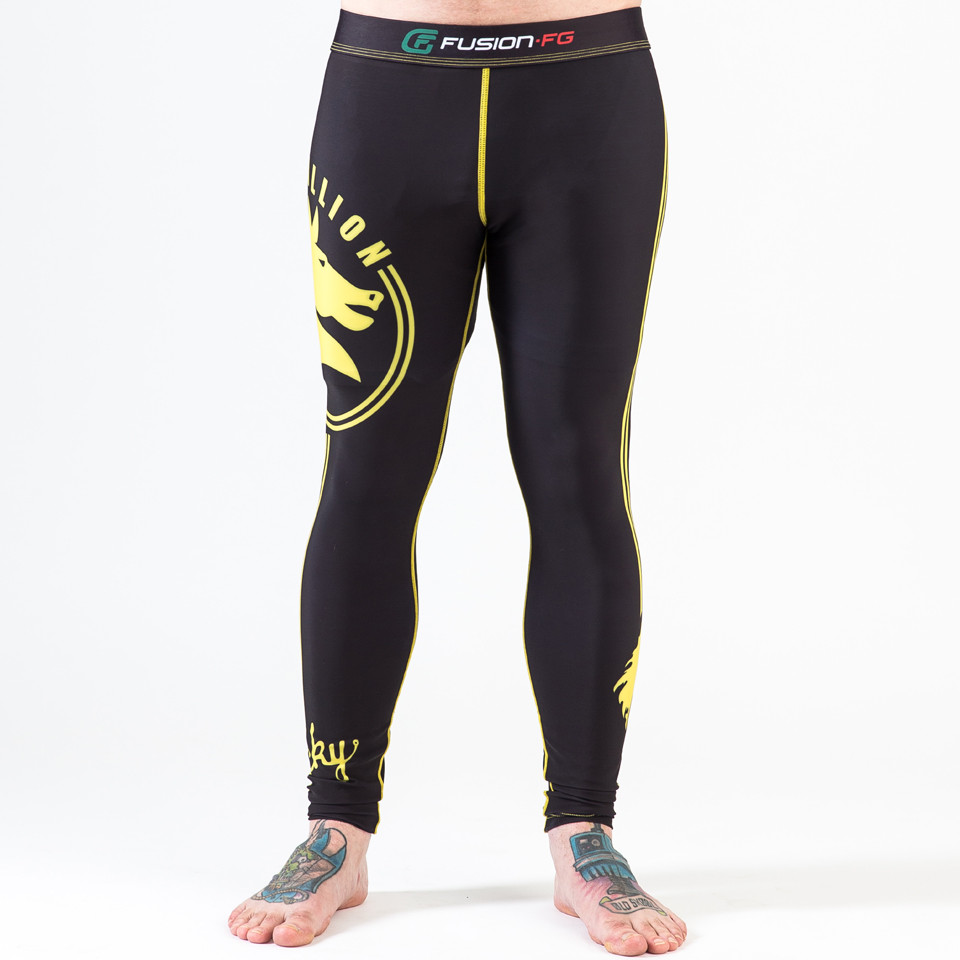 front view of the Fusion FG Rocky Italian Stallion Spats in Black with Yellow available now at www.thejiujitsushop.com  Enjoy Free Shipping today from The Jiu Jitsu Shop.