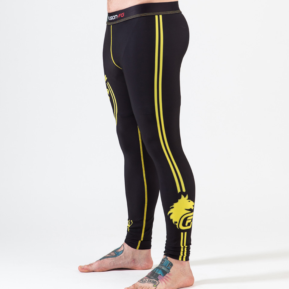 Left View of the Fusion FG Rocky Italian Stallion Spats in Black with Yellow available now at www.thejiujitsushop.com  Enjoy Free Shipping today from The Jiu Jitsu Shop.