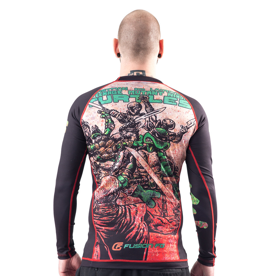 Back zoomed out view of the Fusion FG Teenage Mutant Ninja turtle Rashguard available at www.thejiujitsushop.com  Enjoy Free Shipping from The Jiu Jitsu Shop today!