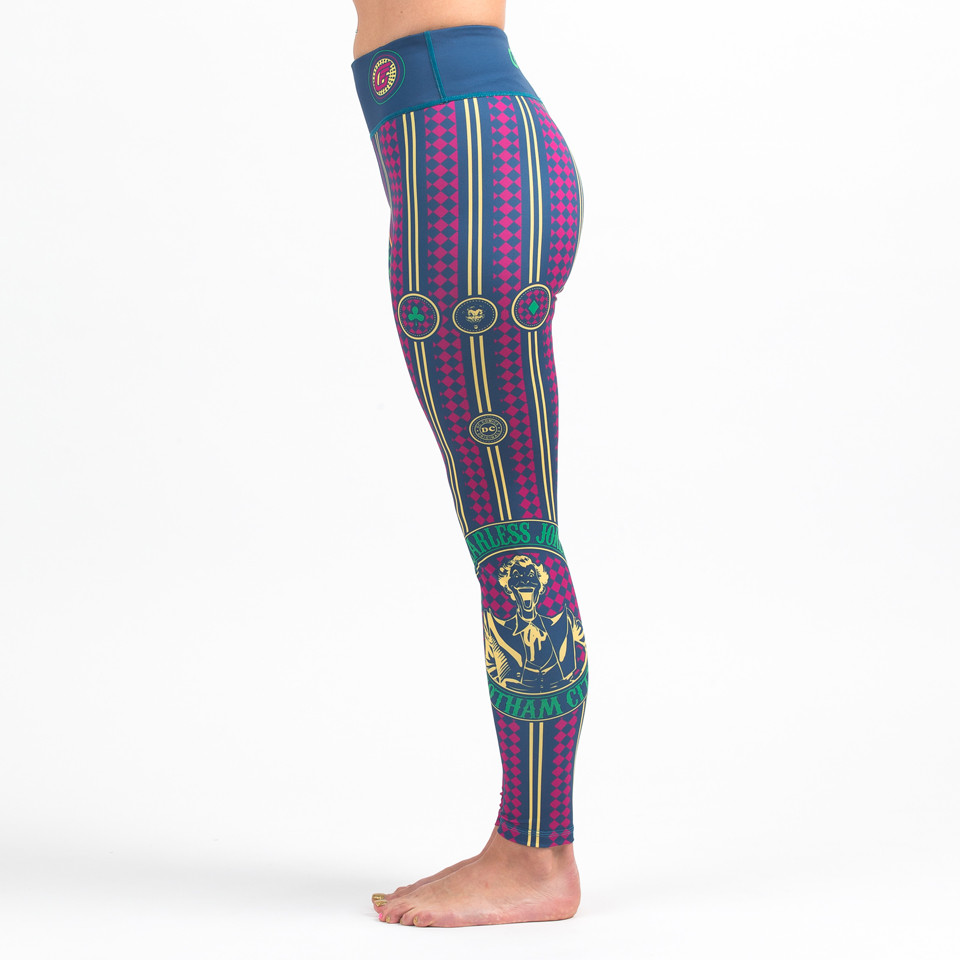 Left side view of the Fusion FG The Joker Fearless Women's Leggings available at www.thejiujitsushop.com  Enjoy Free Shipping from The Jiu Jitsu Shop