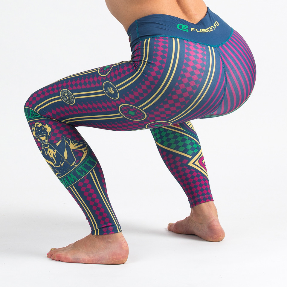 Squatting of the Fusion FG The Joker Fearless Women's Leggings available at www.thejiujitsushop.com  Enjoy Free Shipping from The Jiu Jitsu Shop