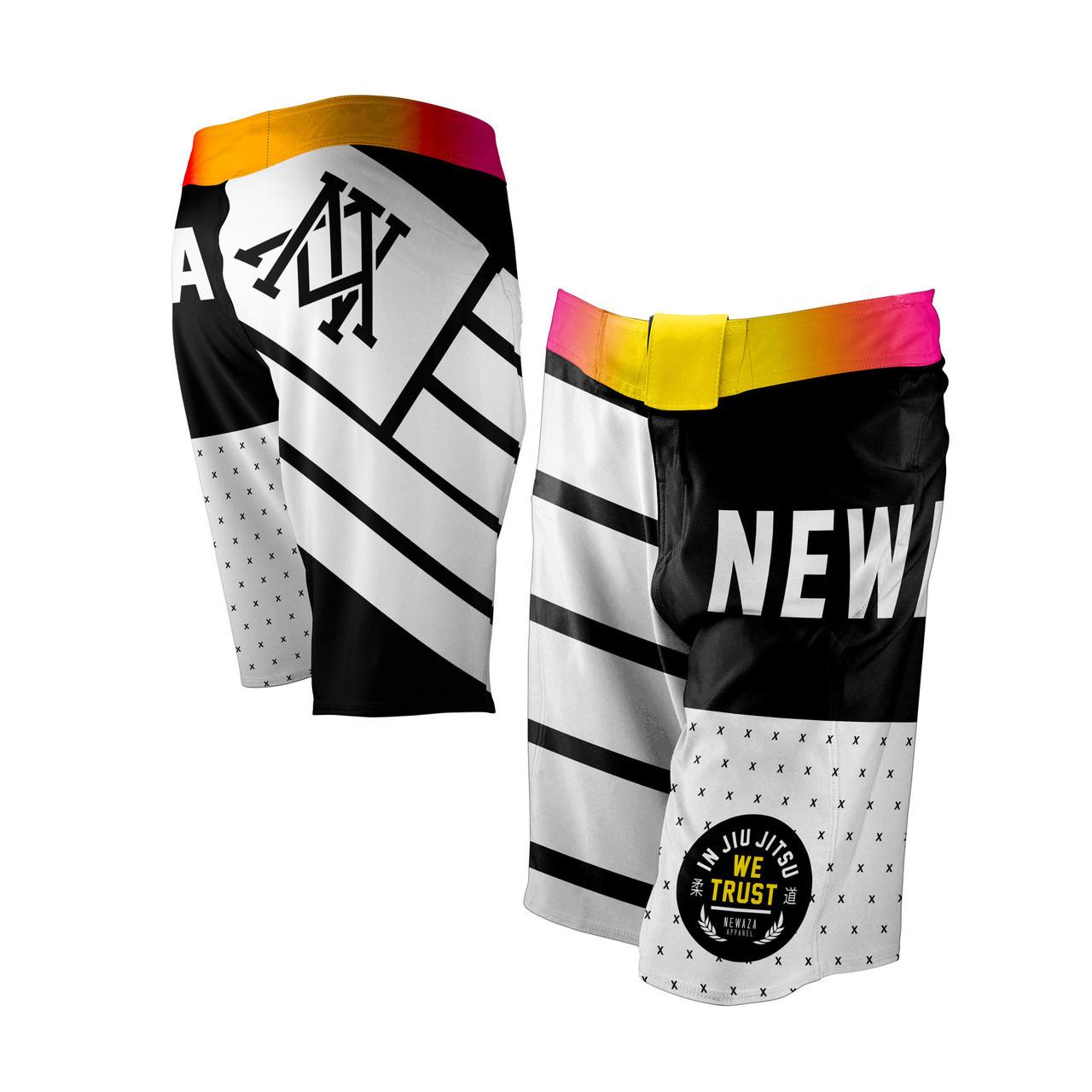 Newaza Apparel In Jiu JItsu We Trust Fight Shorts.  Available at www.thejiujitsushop.com  Enjoy Free Shipping from The Jiu JItsu Shop today!