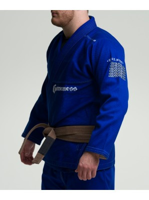 Side view of the Gameness 2016 Feather Gi.  Availalble in fitted sizes as well.  Now available at www.thejiujitsushop.com  Enjoy Free Shipping from The Jiu Jitsu Shop