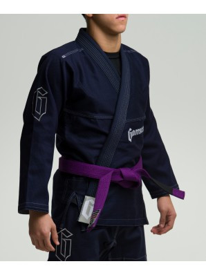 Side view of the Navy Gameness 2017 Feather Gi.  Available in fitted sizes as well.  Now available at www.thejiujitsushop.com  Enjoy Free Shipping from The Jiu Jitsu Shop