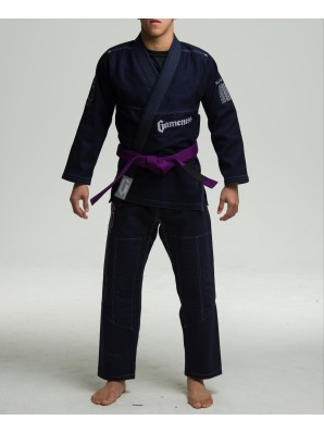 Full view of the Navy Gameness 2017 Feather Gi.  Available in fitted sizes as well.  Now available at www.thejiujitsushop.com  Enjoy Free Shipping from The Jiu Jitsu Shop