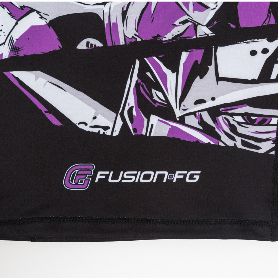 zoom in to the bottom of the rashguard to show shredder's face Fusion FG Teenage Mutant Ninja Turtles Shredder Rashguard for Kids.  Available at www.thejiujitsushop.com  Enjoy Free Shipping from The Jiu Jitsu shop today!