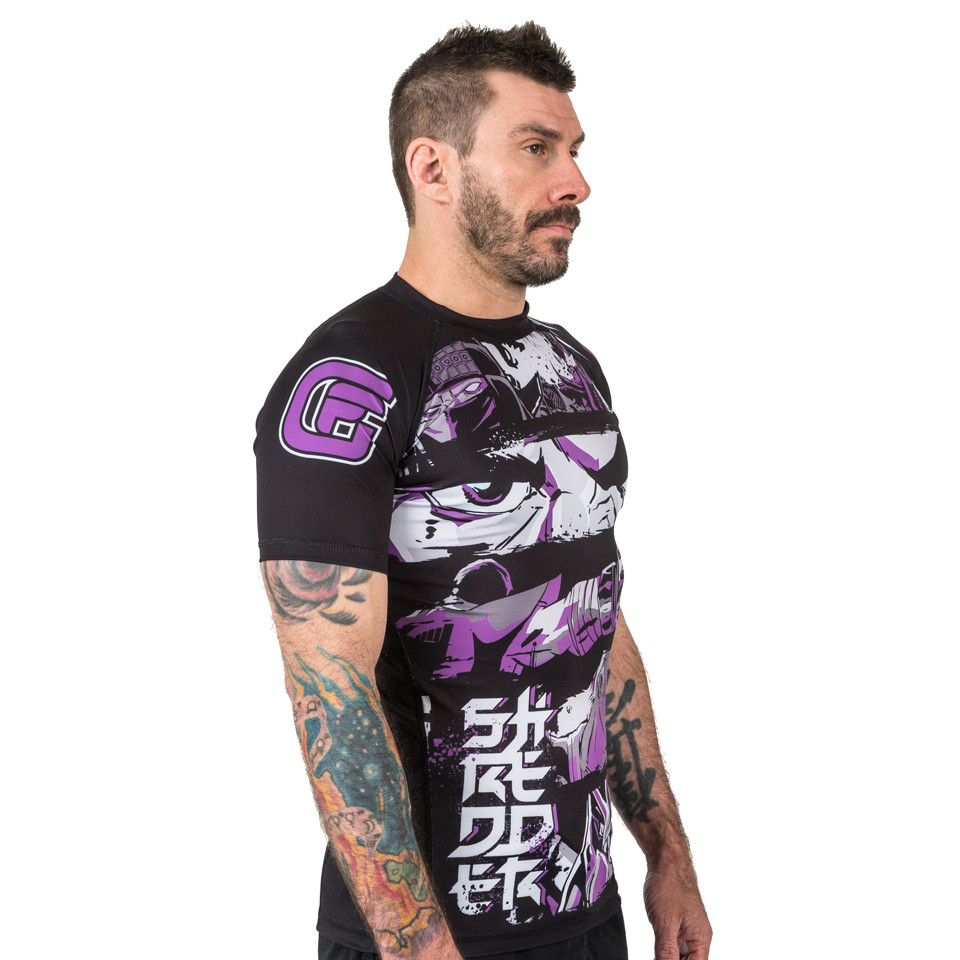 Model looking right of the fusion Teenage Mutant Ninja Turtles Short sleeve rashguard.  Available at www.thejiujitsushop.com  Enjoy Free Shipping from The Jiu Jitsu Shop today!