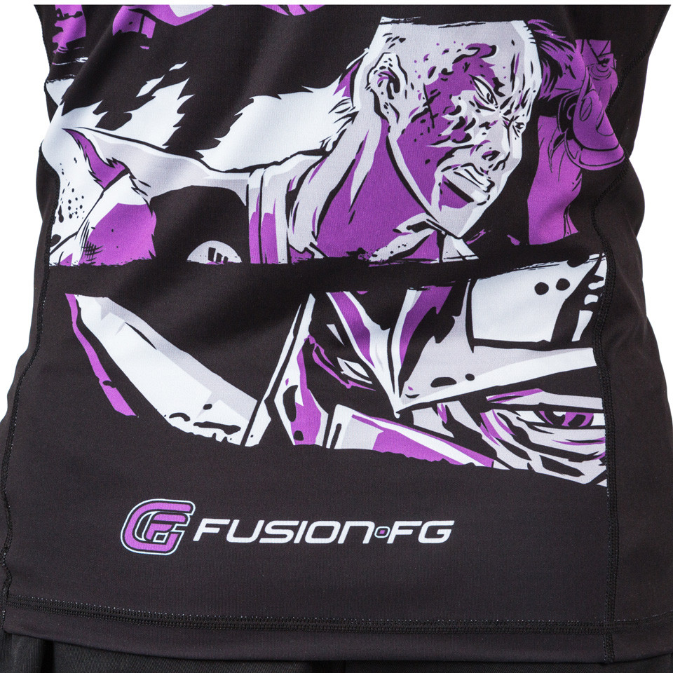 zoom to the comics of the fusion Teenage Mutant Ninja Turtles Short sleeve rashguard.  Available at www.thejiujitsushop.com  Enjoy Free Shipping from The Jiu Jitsu Shop today!