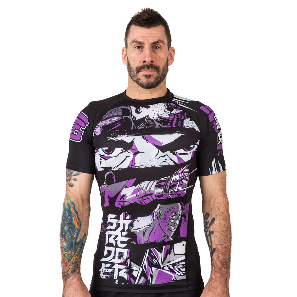 full picture of the fusion Teenage Mutant Ninja Turtles Short sleeve rashguard.  Available at www.thejiujitsushop.com  Enjoy Free Shipping from The Jiu Jitsu Shop today!