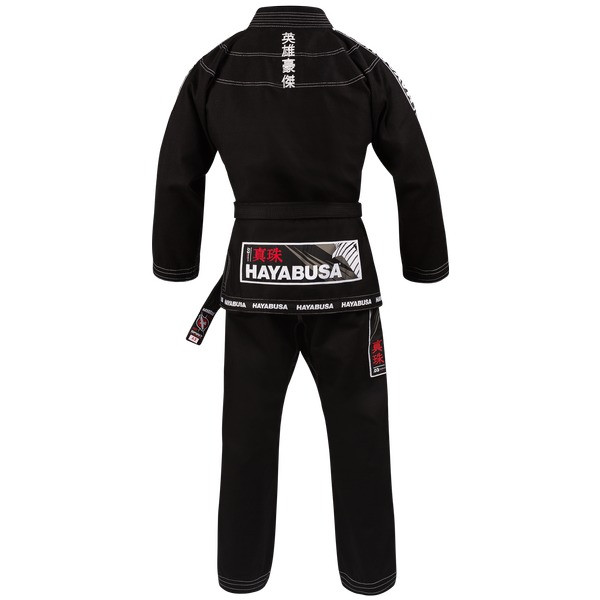 Back view of the Hayabusa Shinju 3 Pearl Weave Jiu Jitsu Gi in Black Now available at www.thejiujitsushop.com.  The Hayabusa Shinju 3.0 comes in Black blue and white.    Enjoy Free Shipping from The Jiu Jitsu Shop.