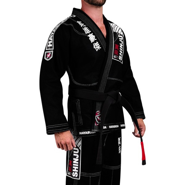 Size view of the new Black Hayabusa Shinju 3 Pearl Weave Jiu Jitsu Gi Now available at www.thejiujitsushop.com.  The Hayabusa Shinju 3.0 comes in Black blue and white.    Enjoy Free Shipping from The Jiu Jitsu Shop.