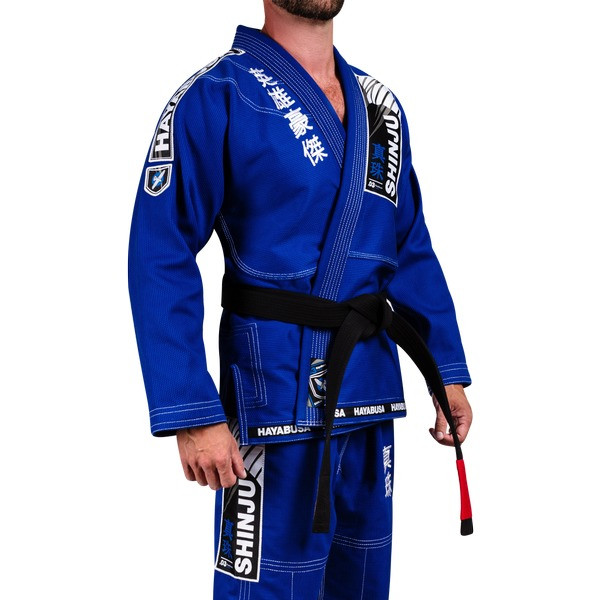 Side view of the Hayabusa Shinju 3 Pearl Weave Blue Jiu Jitsu Gi now available at www.thejiujitsushop.com  Enjoy Free Shipping on this comfortable durable new gi from The Jiu Jitu Shop