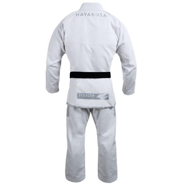 Back of the Hayabusa Stealth Jiu Jitsu Gi in White available at www.thejiujitsushop.com  Enjoy Free Shipping from The Jiu Jitsu Shop.