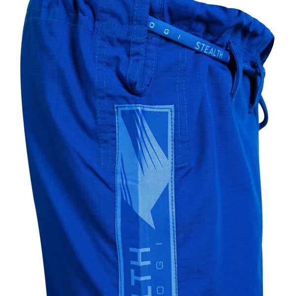 Blue Gi pants of the Hayabusa Stealth Jiu Jitsu Gi in Blue available at www.thejiujitsushop.com  Enjoy Free Shipping from The Jiu Jitsu Shop.