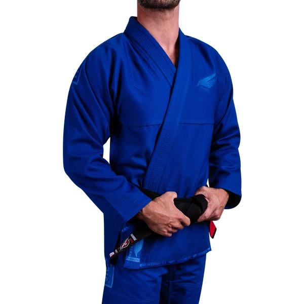 Left model of the Hayabusa Stealth Jiu Jitsu Gi in Blue available at www.thejiujitsushop.com  Enjoy Free Shipping from The Jiu Jitsu Shop.