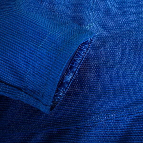 Sleeve zoom up of the Hayabusa Stealth Jiu Jitsu Gi in Blue available at www.thejiujitsushop.com  Enjoy Free Shipping from The Jiu Jitsu Shop.