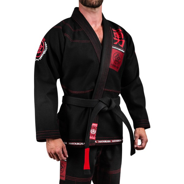 Side model of the Hayabusa Goorudo 3.0 Gold Weave Jiu Jitsu Gi (Black) available at www.thejiujitsushop.com  Enjoy Free Shipping from The Jiu Jitsu Shop