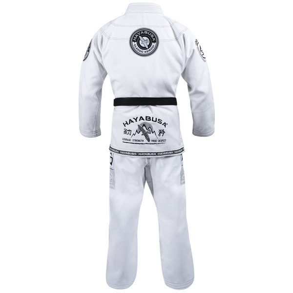 Back of the Hayabusa Goorudo 3.0 Gold Weave Jiu Jitsu Gi (White) available at www.thejiujitsushop.com  Enjoy Free Shipping from The Jiu Jitsu Shop