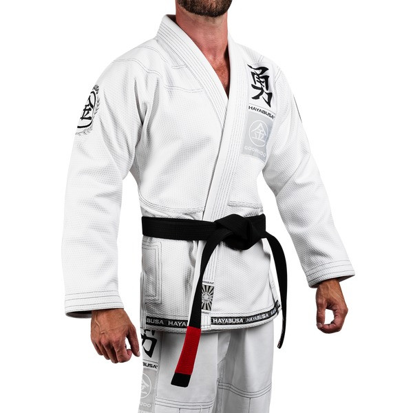Left side model of the Hayabusa Goorudo 3.0 Gold Weave Jiu Jitsu Gi (White) available at www.thejiujitsushop.com  Enjoy Free Shipping from The Jiu Jitsu Shop