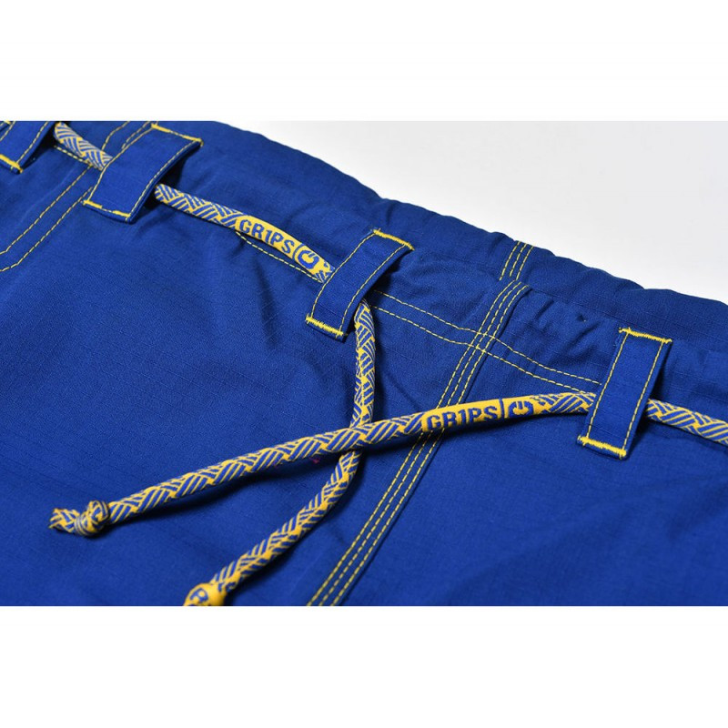 Gi pants zoom of the rope drawstring of the Grips athletics Cali 99 Gi Blue gi.  Available at www.thejiujitsushop.com  Enjoy free shipping from The Jiu Jitsu Shop today!
