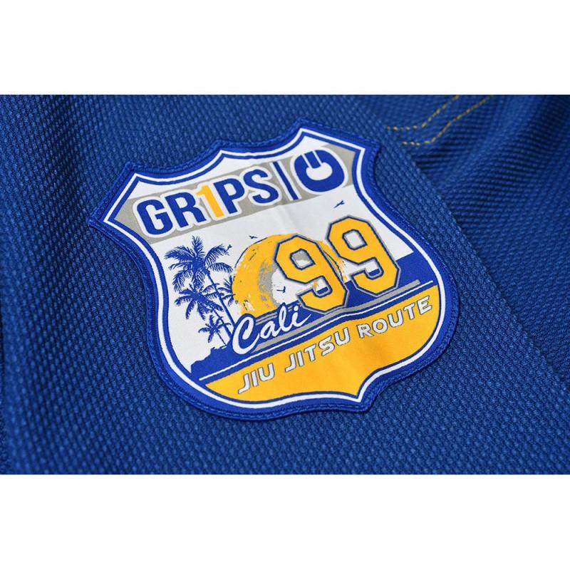 Side patch of the Grips athletics Cali 99 Gi Blue gi.  Available at www.thejiujitsushop.com  Enjoy free shipping from The Jiu Jitsu Shop today!
