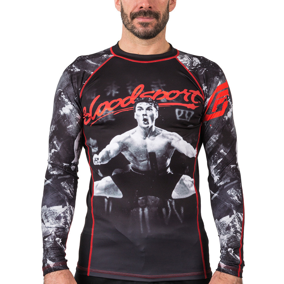Fusion FG Bloodsport Rashguard.  Unique and officially licensed bloodsport Jiu Jitsu Rashguard.  Available at www.thejiujitsushop.com  Enjoy Free Shipping from The Jiu Jitsu Shop
