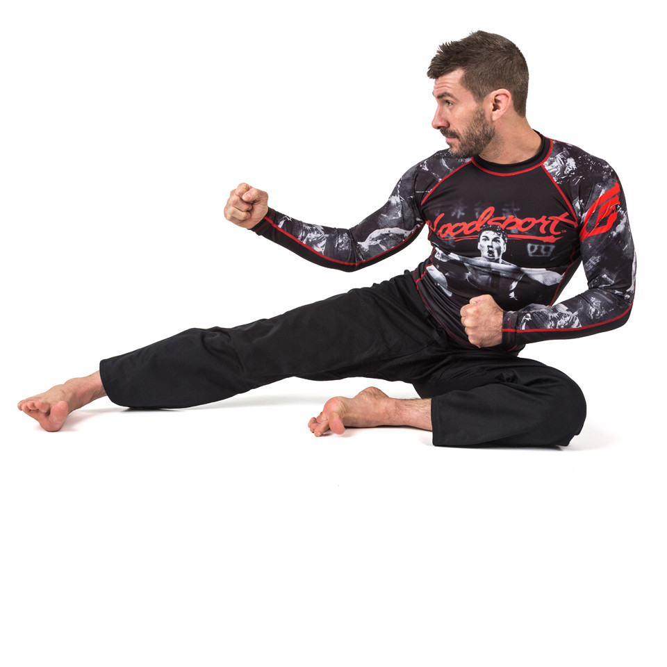 bloodsport kick Fusion FG Bloodsport Rashguard.  Unique and officially licensed bloodsport Jiu Jitsu Rashguard.  Available at www.thejiujitsushop.com  Enjoy Free Shipping from The Jiu Jitsu Shop
