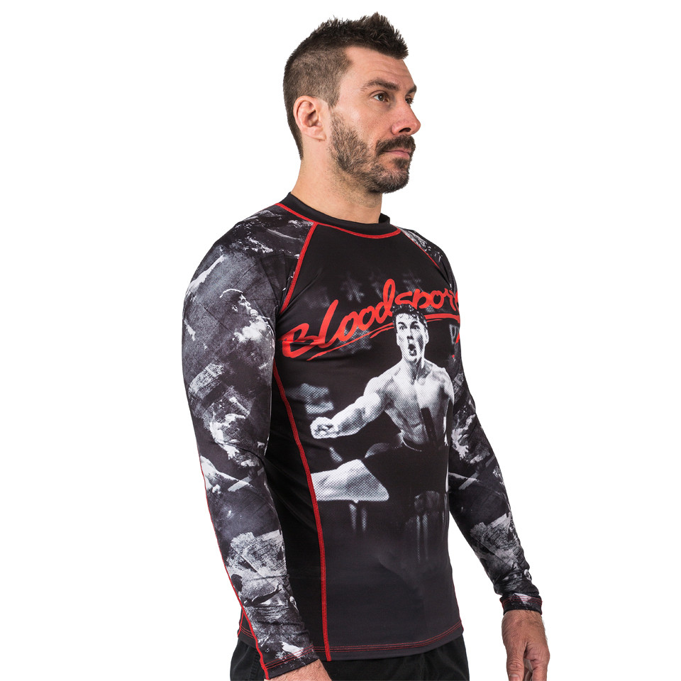 Model right side of Fusion FG Bloodsport Rashguard.  Unique and officially licensed bloodsport Jiu Jitsu Rashguard.  Available at www.thejiujitsushop.com  Enjoy Free Shipping from The Jiu Jitsu Shop