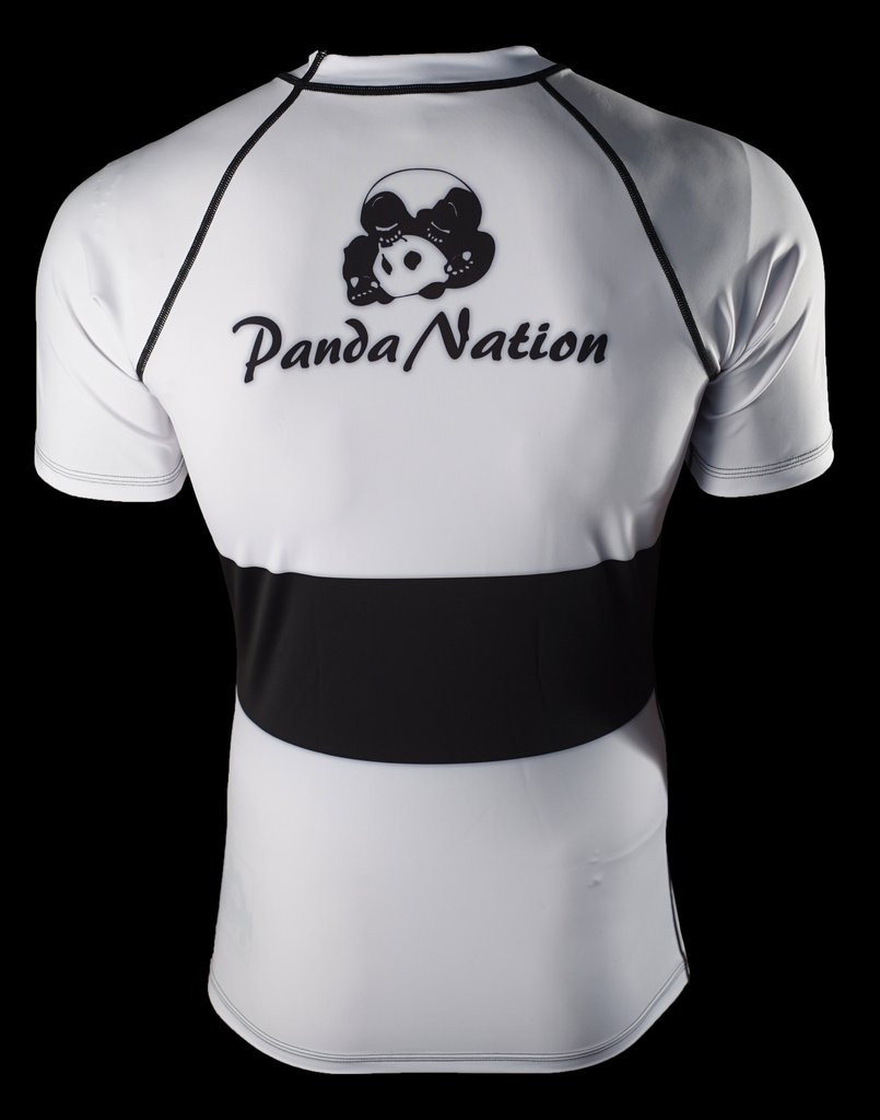 Back of the White Inverted Gear Short Sleeve Ranked Rashguard available at www.thejiujitsushop.com  Free Shipping from The Jiu Jitsu Shop today!