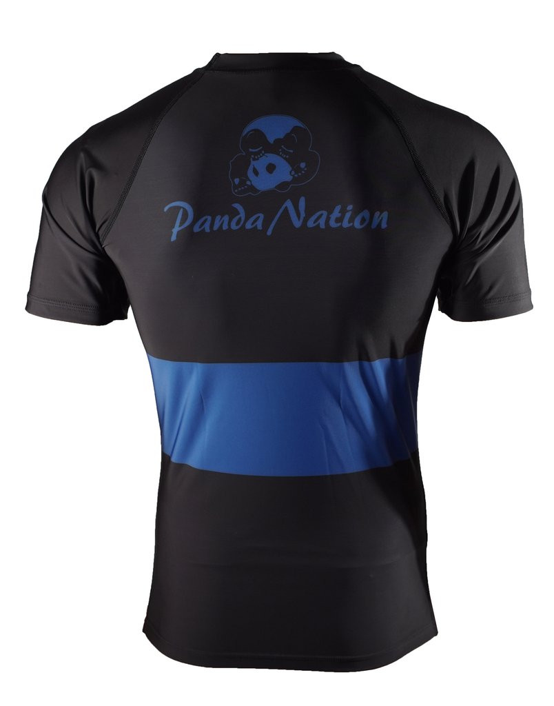 Back of the Blue Inverted Gear Short Sleeve Ranked Rashguard available at www.thejiujitsushop.com  Free Shipping from The Jiu Jitsu Shop today!