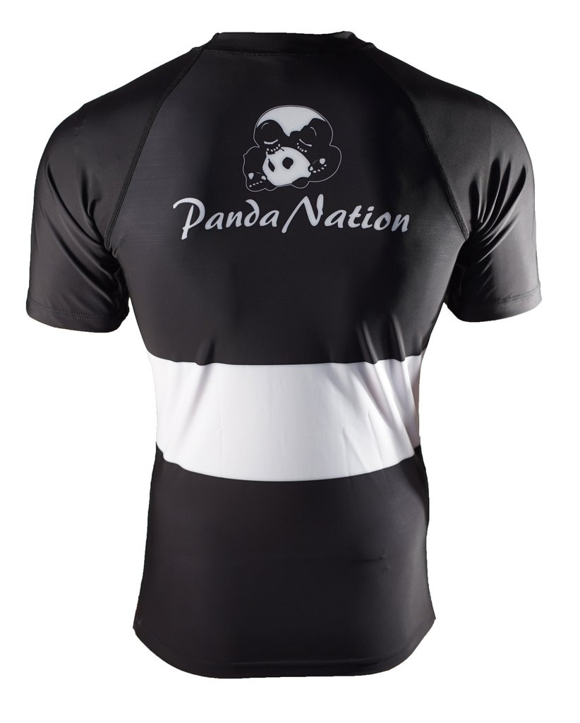 Back of the Black and white Inverted Gear Short Sleeve Ranked Rashguard available at www.thejiujitsushop.com  Free Shipping from The Jiu Jitsu Shop today!