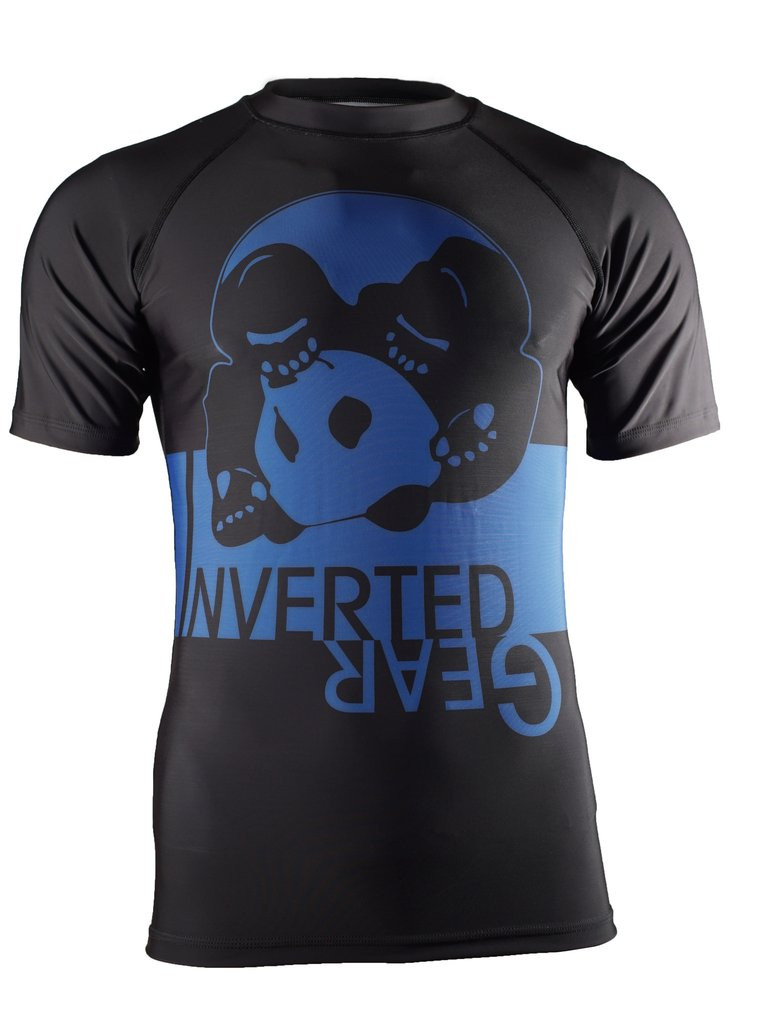 Front of the Blue Inverted Gear Short Sleeve Ranked Rashguard available at www.thejiujitsushop.com  Free Shipping from The Jiu Jitsu Shop today!