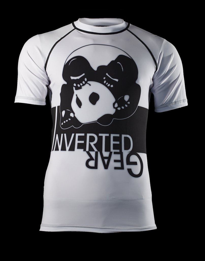 Front of the White Inverted Gear Short Sleeve Ranked Rashguard available at www.thejiujitsushop.com  Free Shipping from The Jiu Jitsu Shop today!