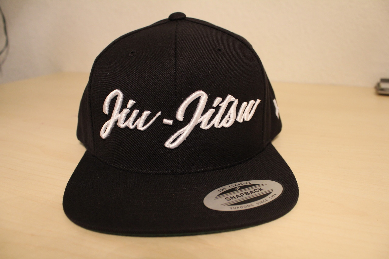 Open Guard Apparel All Black Jiu Jitsu Cursive Hat Snap back style.
