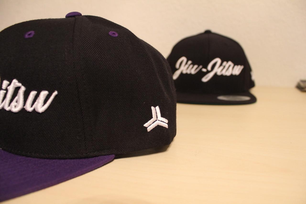 Open Guard Apparel All Black/Purple Jiu Jitsu Cursive Hat Snap back style.