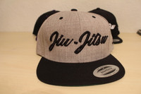 Open Guard Apparel Black and Heather Gray  Jiu Jitsu Cursive Hat Snapback style.