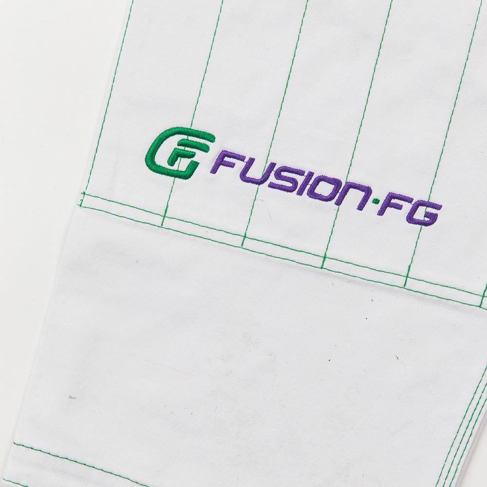 Fusion FG logo on the pants Fusion FG Batman Killing Joke Gi (White Joker Gi) now available at www.thejiujitsushop.com  Enjoy Free Shipping from The Jiu Jitsu Shop.
