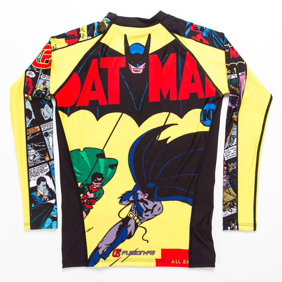 Back view of the Fusion FG Batman Number 1 Comic Rashguard Compression  Shirt available at www.thejiujitsushop.com  Enjoy Free Shipping from The Jiu Jitsu Shop today!
