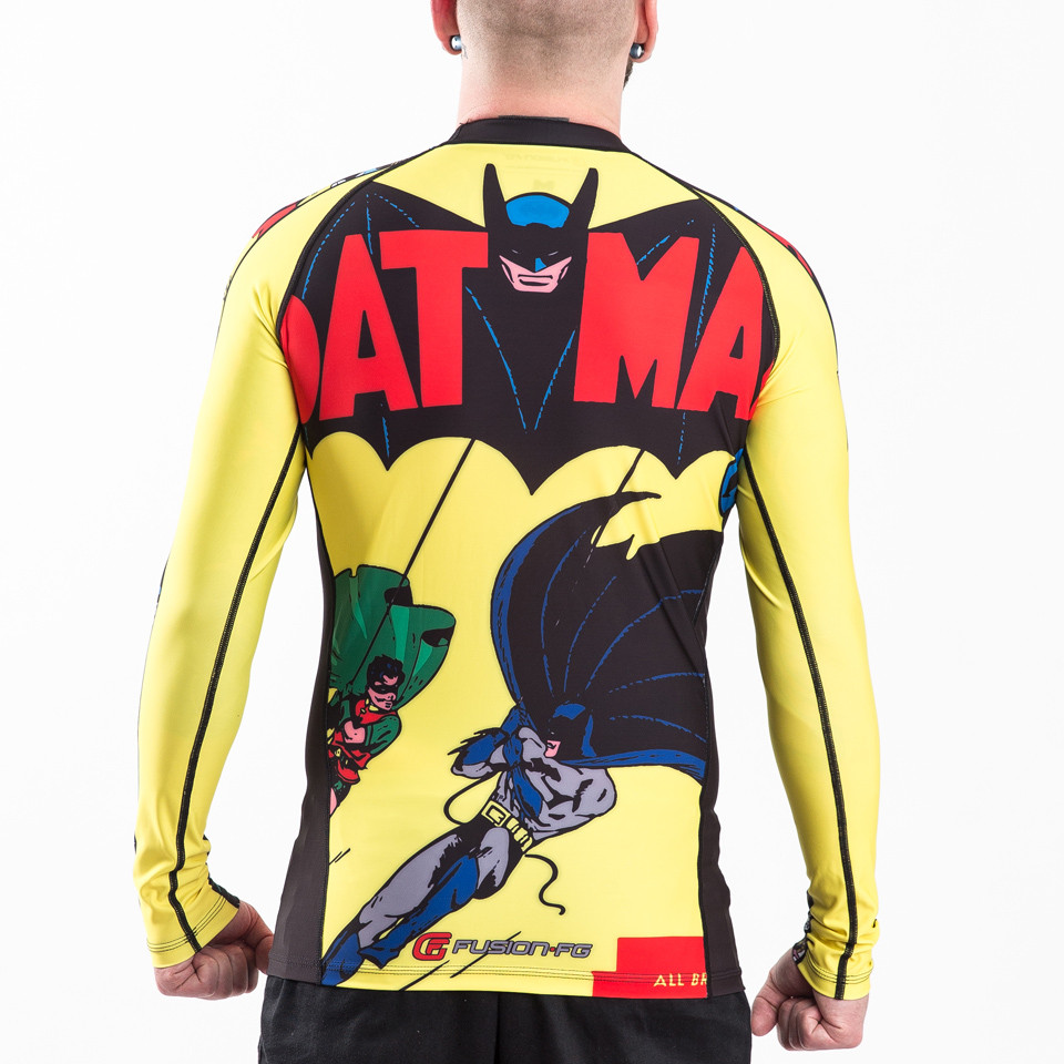 Back of the Fusion FG Batman Number 1 Comic Rashguard Compression  Shirt available at www.thejiujitsushop.com  Enjoy Free Shipping from The Jiu Jitsu Shop today!