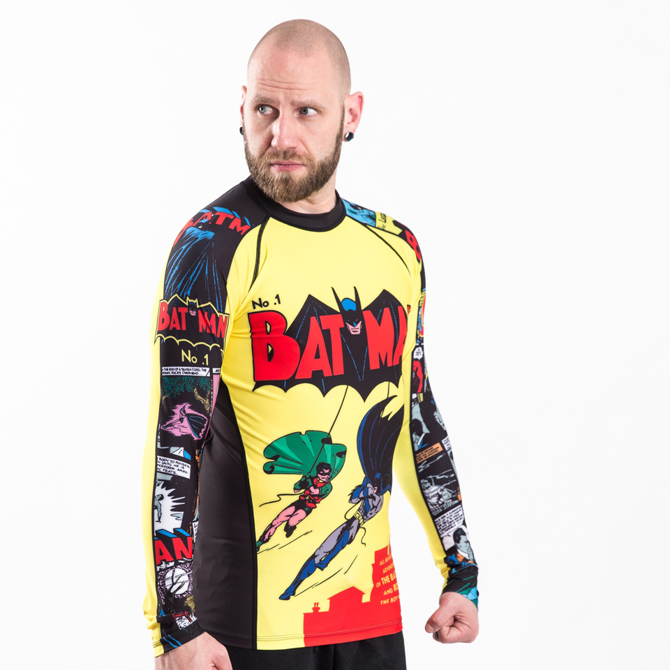 Angle model picture of the Fusion FG Batman Number 1 Comic Rashguard Compression  Shirt available at www.thejiujitsushop.com  Enjoy Free Shipping from The Jiu Jitsu Shop today!