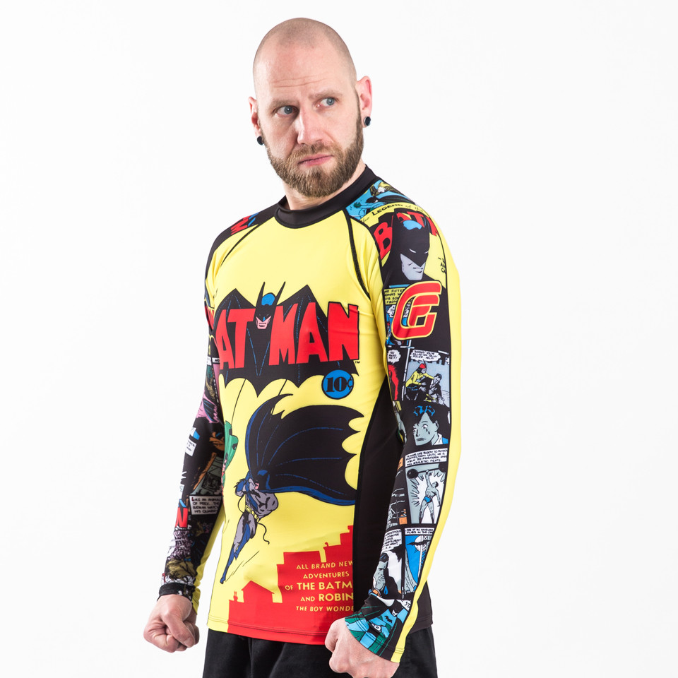 Right model angle of the Fusion FG Batman Number 1 Comic Rashguard Compression  Shirt available at www.thejiujitsushop.com  Enjoy Free Shipping from The Jiu Jitsu Shop today!
