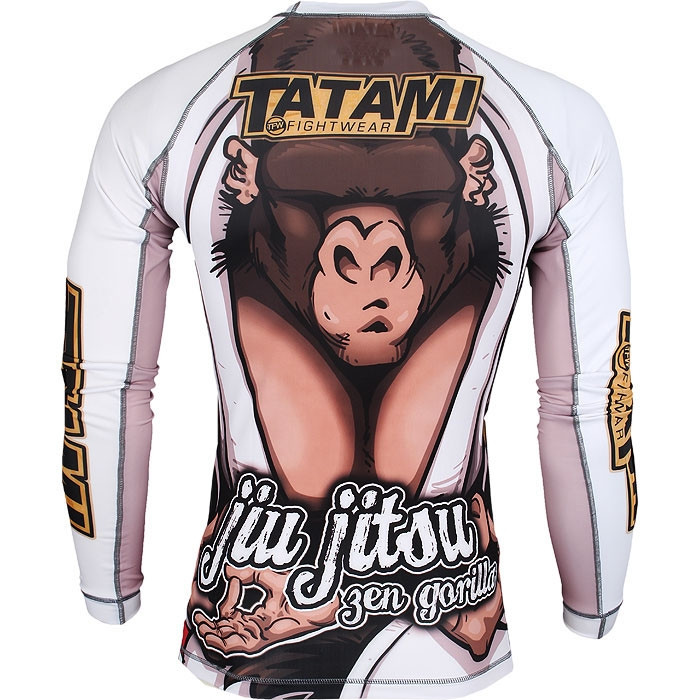 Tatami Zen Gorilla Long Sleeve Rashguard @ The Jiu Jitsu Shop.  Be at one with the mats.  Back of the Rashguard