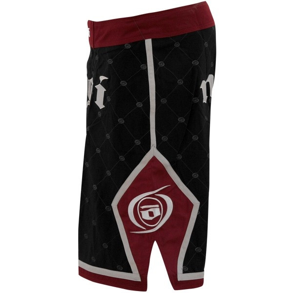 Side view of the No Gi Industries Kingpin Shorts.  Black and burgandy limited edition shorts.  Super comfotable and durable.    Available at www.thejiujitsushop.com.
