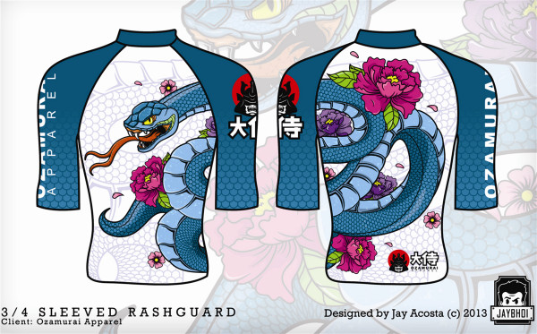Kozamurai Snake White Adult Rashguard @ www.thejiujitsushop.com