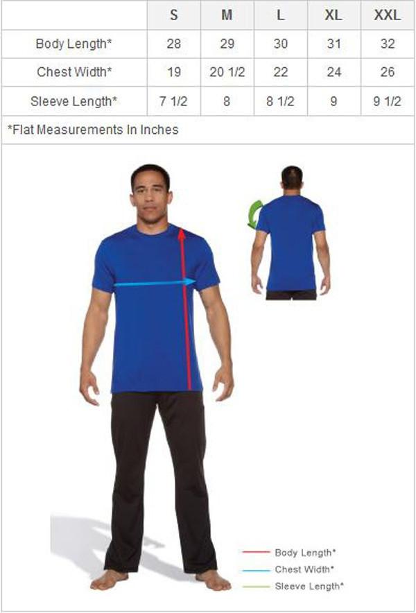 Jaco Athletics Overspray Crew Tshirt isizing chart - Green now available at www.thejiujitsushop.com  Enjoy free shipping from The Jiu Jitsu Shop