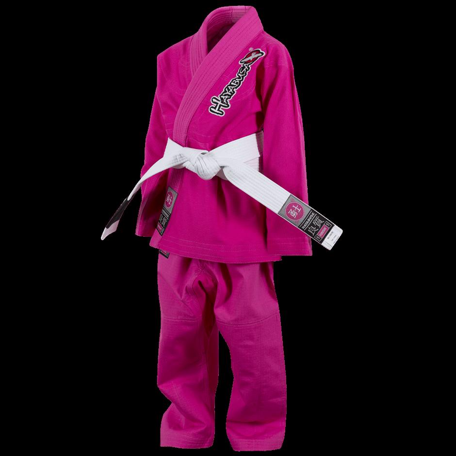 Hayabusa Yuushi Kids Jiu Jitsu pink Gi @ www.thejiujitsushop.com front view of the pink hayabusa gi